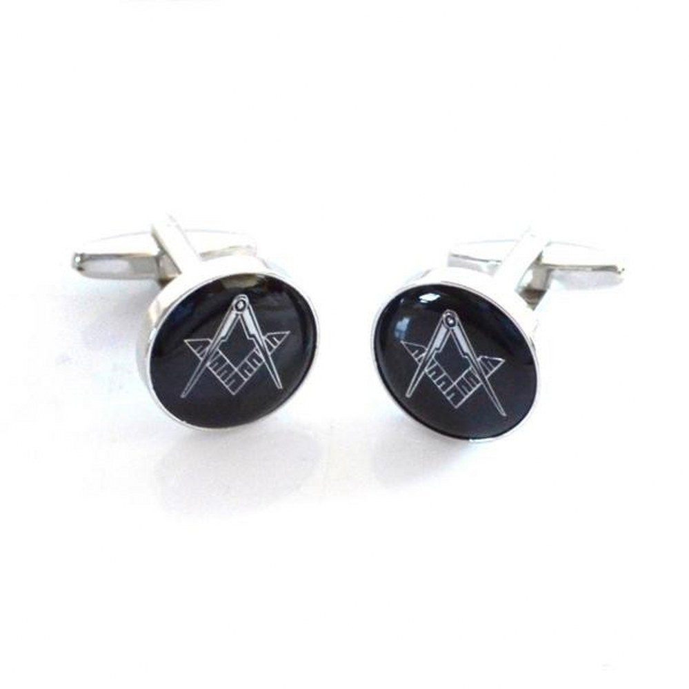 Black /& Silver Enamelled Masonic Cufflinks